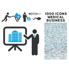 Realty Presention Icon with 1000 Medical Business vector image vector image