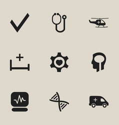 set of 9 editable hospital icons includes symbols vector image vector image