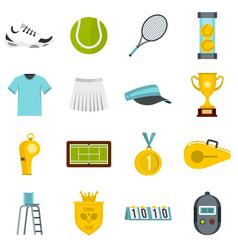 tennis set flat icons vector image