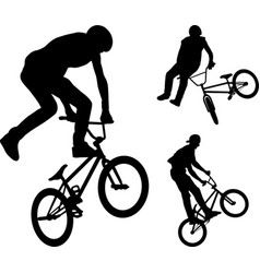 Bmx stunt cyclists silhouettes vector