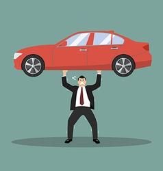 Businessman carry a heavy car vector