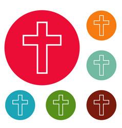 catholic cross icons circle set vector image