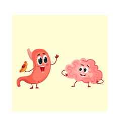 cute and funny human stomach and brain characters vector image