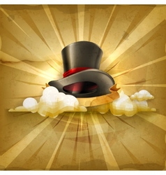 Cylinder hat old style background vector image vector image