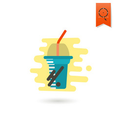 disposable cup with lid and straw vector image