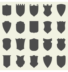 Set of blank empty dark shields Shield badge vector image vector image