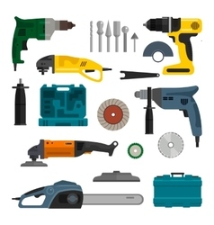 Set of power electric tools repair and vector