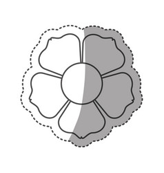 sticker monochrome contour with flower icon and vector image vector image