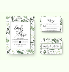 botanical wedding floral invite rsvp thank u card vector image