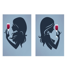 drinking girls vector image vector image