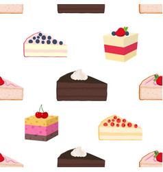 pattern of hipster cakes cheesecakes pies pastry vector image