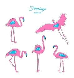 Pink blue flamingo birds fashion patch badges set vector image vector image