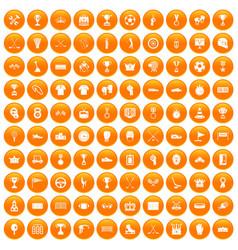 100 awards icons set orange vector image