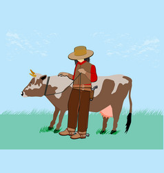 a cow on a rope vector image