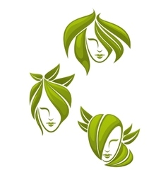 Abstract portraits of women with green leaves vector