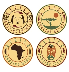 African ethnic culture animals and nature labels vector