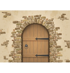 Arch stone with closed wooden door vector