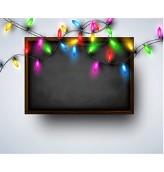 Background with blackboard and christmas garland vector
