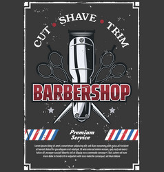 Barbershop retro poster with scissors and razor vector