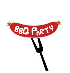 bbq party sausage on fork background image vector image