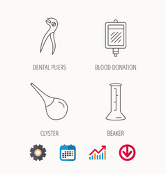Beaker blood and dental pliers icons vector
