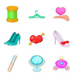 Beautiful maiden icons set cartoon style vector
