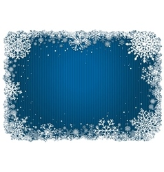 Blue Christmas background with frame of snowflakes vector