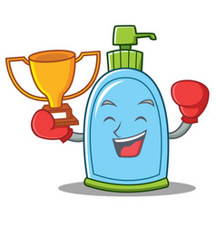 Boxing winner liquid soap character cartoon vector
