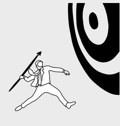 businessman shooting the big target with spear vector image