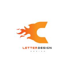 c letter flame logo design fire logo lettering vector image vector image