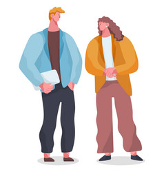 cartoon office characters standing and talking vector image