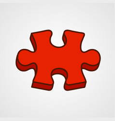 cartoon puzzle piece icon red variant vector image