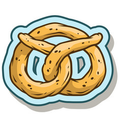 cartoon tasty pretzel sticker icon vector image