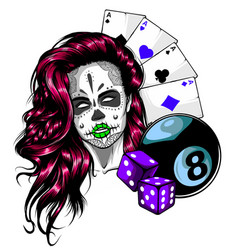 casino games - poker hand drawn sketch vector image