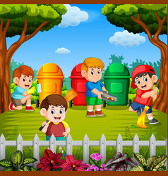 Children clean the garden and throw the trash vector