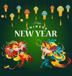 Chinese lunar new year lion dance fight lattern vector