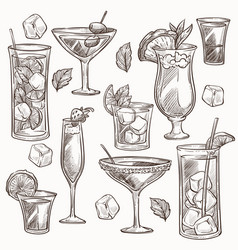 Cocktails isolated sketches ice and fruit slices vector