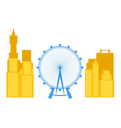 Colored cityscape of london with the london eye vector