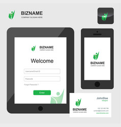 company app design in tablet and smart phone with vector image