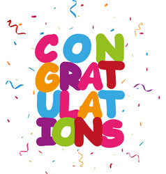 Congratulations design with ribbon and confetti vector