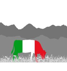 Cow alp and italian flag vector