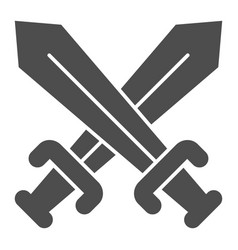 Crossed swords solid icon blades crossed vector