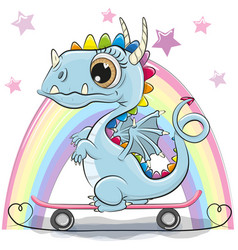 Cute dragon with skateboard on a rainbow vector