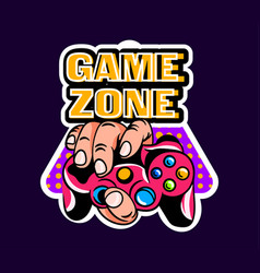 Cute game logo patch with game zone lettering vector