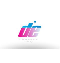de d e alphabet letter combination pink blue bold vector image