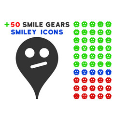 Doubt smiley map marker icon with bonus smile vector