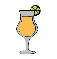 Drawing cocktail glass cup lime alcoholic beverage vector