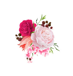 Elegance flowers bouquet of color roses and tulip vector