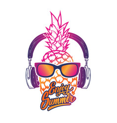 Enjoy summer pineapple with sunglass vector