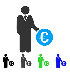 Euro investor flat icon vector